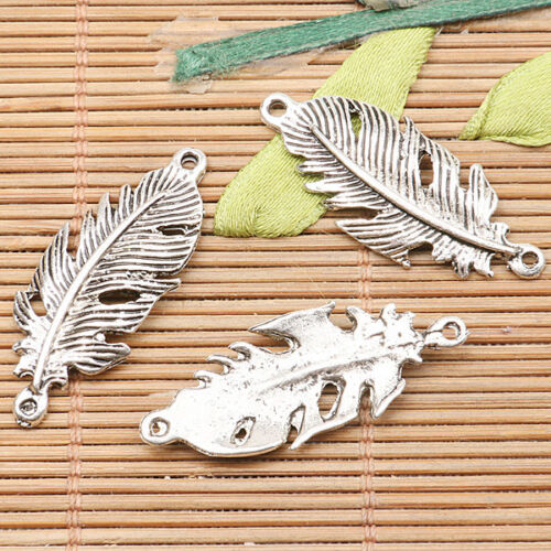 10pcs Tibetan Silver Color Feather Design connecteur h1541