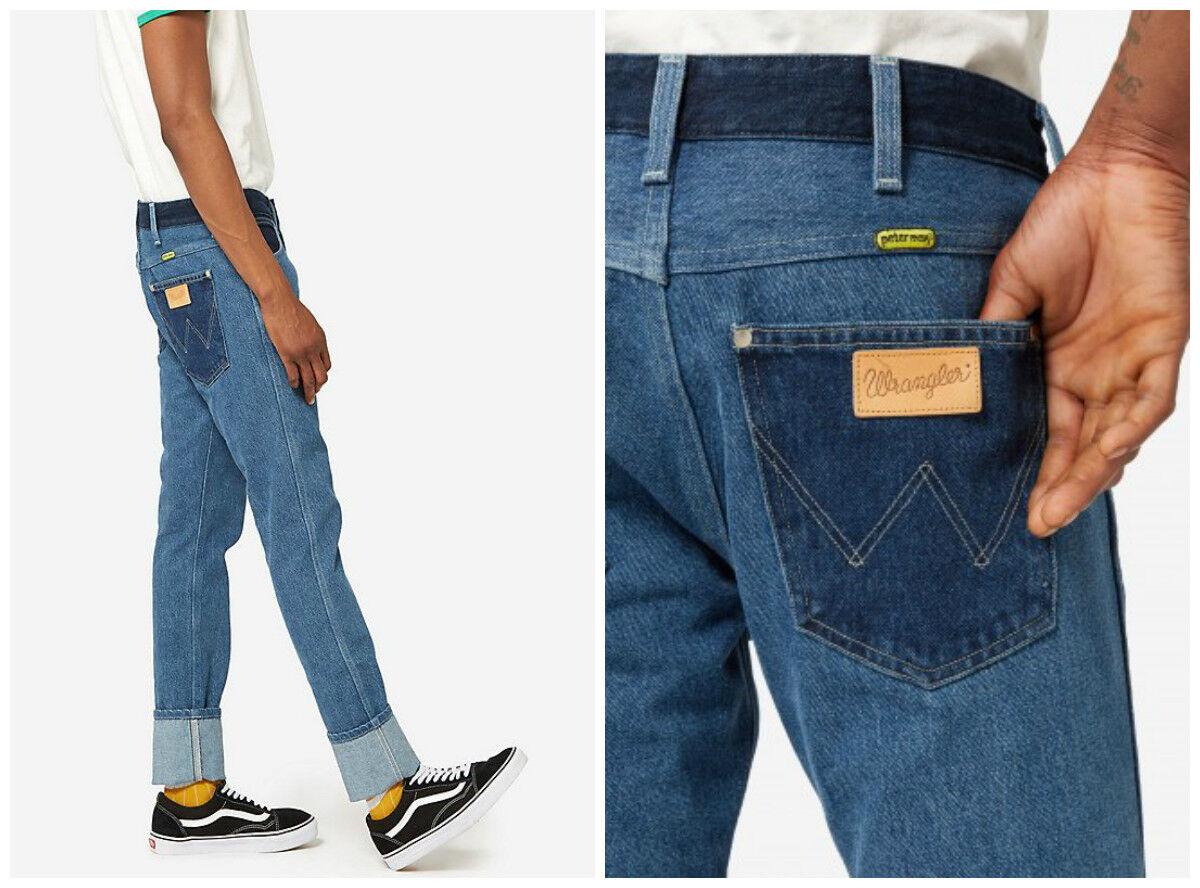 Neu Wrangler von Peter Max Schmal Retro Jeans Stein Gerade Spencer Passform L32