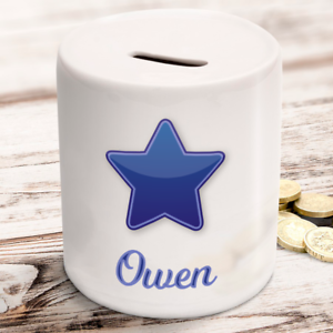 Personalised money box name and star kids childrens gift present idea