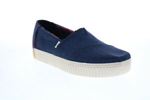 Toms Alpargata Indio 10015871 Womens Blue Canvas Slip On Loafer Flats Shoes 6.5
