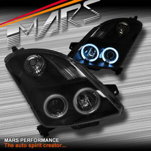 Black-CCFL-Angel-Eyes-Projector-Head-Lights-for-Suzuki-Swift-04-06-07-10-amp-Sport
