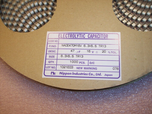 50 QTY 47uf 16V 6.3X5.5 SMD ELECTROLYTIC CAPACITORS NACE470M16V6.3X5.5TR13 NIC