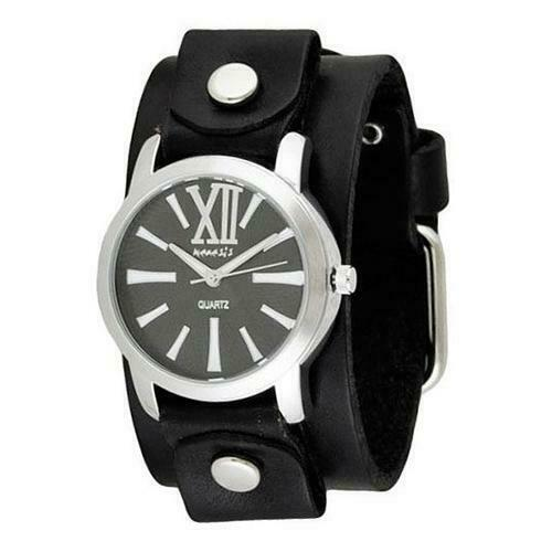 Black/White Roman Ladies Watch with Junior Size Black Leather Cuff Band GB065KW