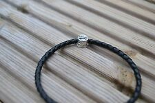 Braided Leather Bracelet with 925 Silver Charm - Dog Bowl