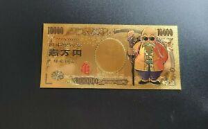Dragon Ball Z Tortue Géniale Billet banknote 10000 Yen Or Carte Card no Bandai