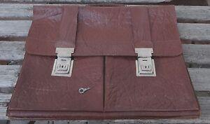 Tasche Shabby Aktentasche Echt ~50er Chic Leder Antike Ledertasche Orgn Vintage wq8Cxa