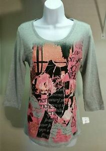 New-Style-amp-co-Women-039-s-Gray-Graphic-100-Cotton-3-4-Sleeve-Top-Blouse-Size-M