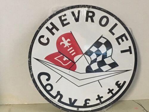 """CHEVROLET CORVETTE RACING FLAGS 12/"""" ROUND METAL SIGN GARAGE BARN INDOOR OUTDOOR"""