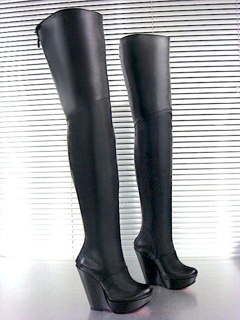 MORI ITALY WEDGES NEW OVERKNEE HEELS BOOTS STIEFEL STIVALI LEATHER BLACK black 38