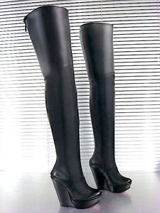 Black 43 Boots New Heels Nero Overknee Italy Mori Stiefel Stivali Leather Wedges qwTzHWn6