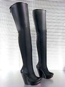 Wedges Boots Black 42 Heels Stiefel Mori Leather Nero Italy New Overknee Stivali qXnAZ5