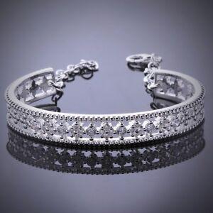 Pave-Cubic-Zirconia-Filigree-Adjustable-Cuff-Bangle-Bracelet-CZ-Bridal-1-SZ
