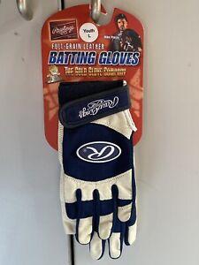 Navy Blue Rawlings Full-Grain Leather Baseball Batting Gloves  NEW Youth Large