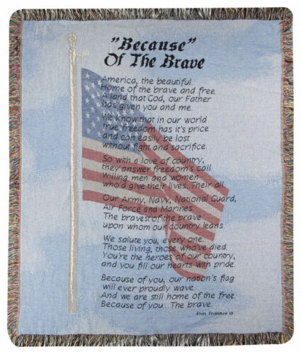 THROWS - BECAUSE OF THE BRAVE TAPESTRY THROW BLANKET - VETERANS - MILITARIA