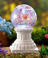 Solar Lighted Crackle Glass Ball On Column Butterfly Design Yard Garden Decor