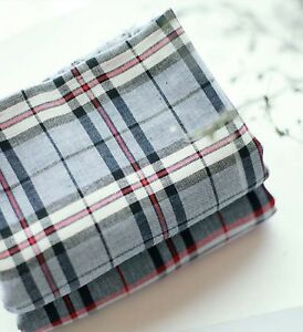 Vintage-checked-100-Cotton-Double-Gauze-30-039-s-BY-THE-YARD-blue-red-check-JG19