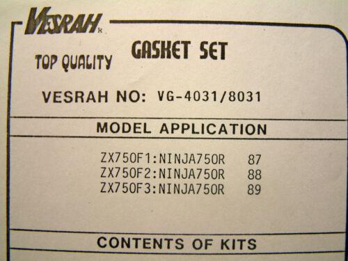 VESRAH Top End Joint Set Kit Kawasaki GPX750R zx750f1-f3 Ninja 750R prières