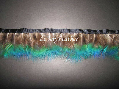 Peacock plumage feather fringe blue irridescent color 1 yard trim