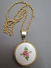 """VTG Locket Pendant Chain Necklace Gold Plated Guilloche Enamel 24"""" Rose Flower"""
