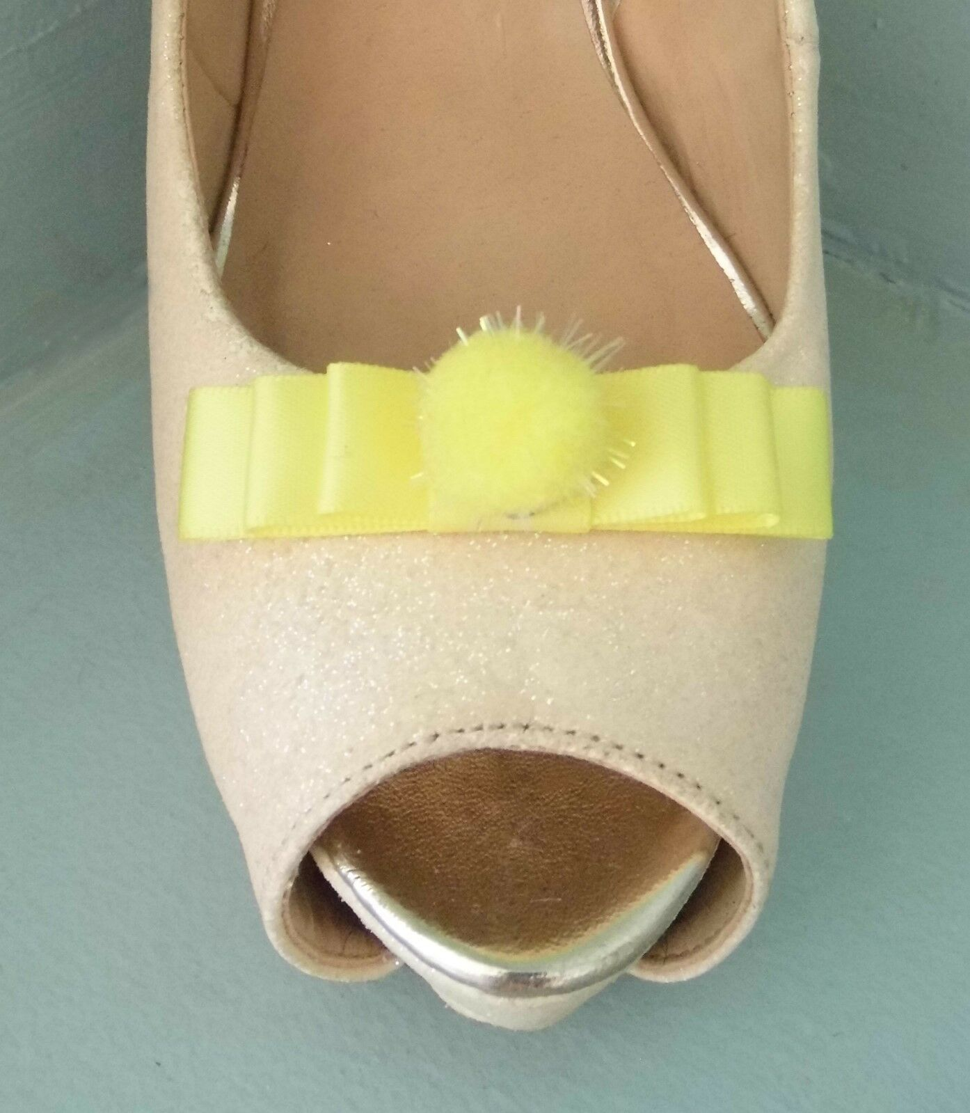 2 Small Lemon Bow Clips for Shoes with Glittery Pompom Centre