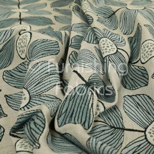Nuevo patrón floral azul fondo gris uniforme telas De Tapicería Mobiliario