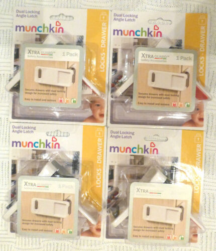 4 Pack Munchkin Dual Locking Drawer Angle Latch Child Safety Baby Proofing