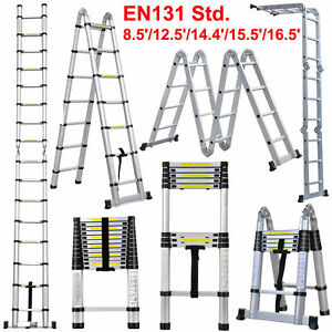 8 5ft 16 5ft Extendable Aluminum Telescopic Ladder