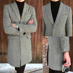 Long-Black-amp-White-Houndstooth-Men-Overcoat-Formal-Business-Outwear-Parka-Suits