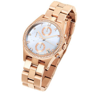 BRAND-NEW-MARC-JACOBS-MBM3299-HENRY-ROSE-GOLD-TONE-STEEL-BLUE-DIAL-WOMEN-039-S-WATCH