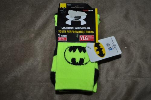 Under Armour Alter Ego BATMAN Crew Socks Youth Large Neon Yellow//Black NWT