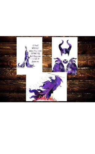 Art Digital Files Instant Download 3 Maleficent Disney Watercolor Poster