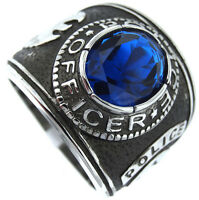 Blue Sapphire Police Officer Silver Stainless Steel Mens Ring
