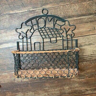 Rustic Farmhouse Metal Basket Rack Wall Hanging Home Organization