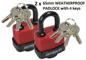 2 x 65MM manille tall weather proof feuilleté cadenas en acier cadenas avec 4 clés-afficher le titre d`origine hdMo1AVT-07134730-905659503