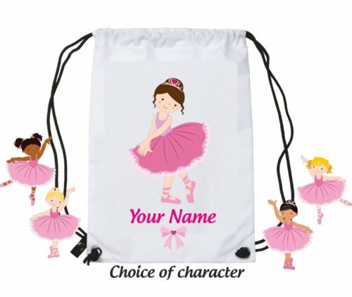 Personalised ballet dancer bag name swimming pe gym sports dance girls school