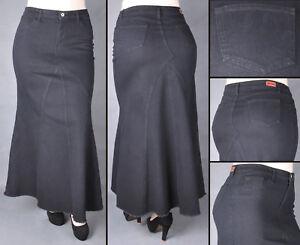 30141b57dec Image is loading NWT-Stretch-Denim-Plus-Size-Black-Maxi-Skirt-
