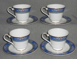 Set-4-1993-Royal-Doulton-Bone-China-AUSTIN-PATTERN-Cups-amp-Saucers-ENGLAND