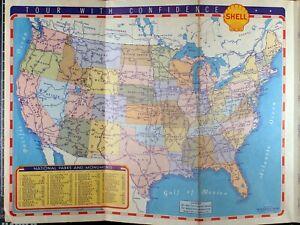 1939-Shell-Oil-Company-California-Road-Map-Vintage-Auto-Car-Tour-Petroliana