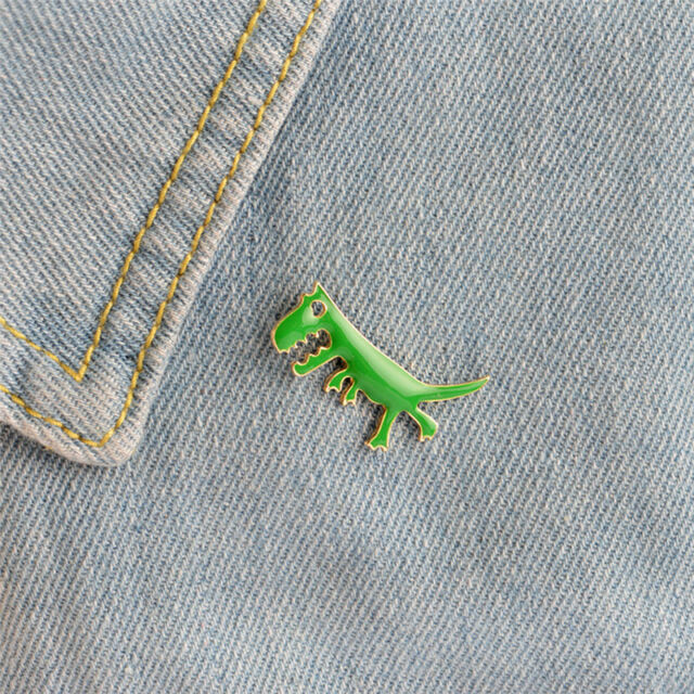 Cartoon Dinosaur Animals Girl Enamel Collar Pins Badge Corsage Brooch Jewelry