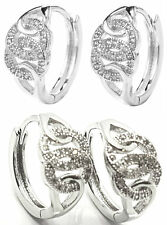 Pair Women White Gold Filled Iced Earrings Huggie Hoop Polished Round Earring