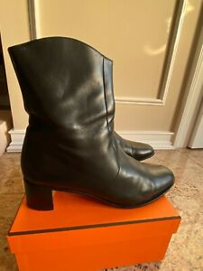 hermes black leather block heel ankle boots shoes size 40