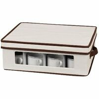 Household Essentials Coffee Or Tea Cup Storage Chest, Natural Canvas With Brown on sale