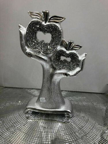 SILVER HEART APPLE IN HANDS SPARKLE BLING ORNAMENT CRUSHED DIAMOND NEW/_UK
