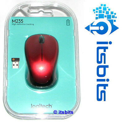 LOGITECH M235 RED WIRELESS MOUSE WITH NANO RECEIVER WIN 10 8.1 8 7 READY MAC OS