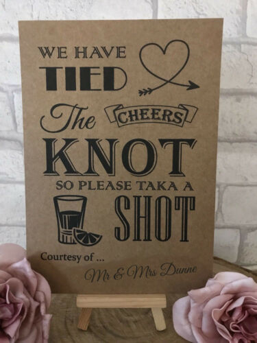 Personalised We Have Tied The Knot Shot Wedding Sign Post Recycled Kraft Card