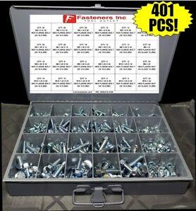 Grade-10-9-Metric-J-I-S-Flange-Bolt-amp-JIS-Flange-Nut-Assortment-Kit-401-PCS