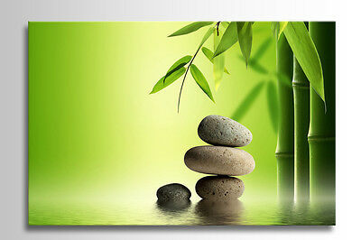 BOX FRAMED CANVAS ZEN CALMING STONES BAMBOO IN WATER RELAXING PICTURE NEW PRINT