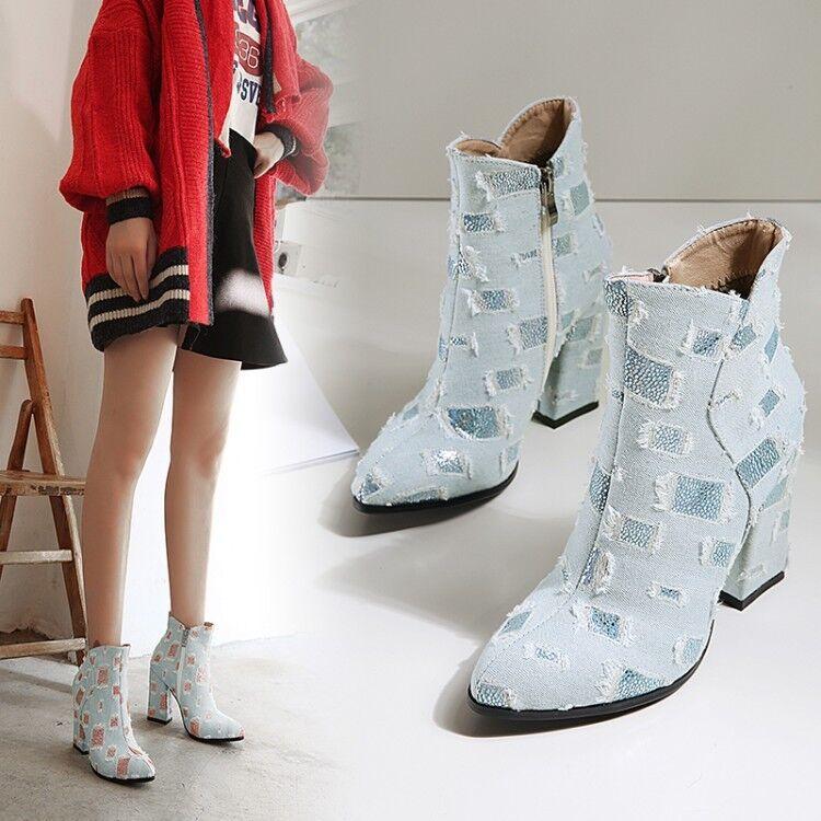 Femme Vogue Ripped Denim bout pointu Fermetures Éclair Bottines à Talon Botcravater Chaussures kgsg