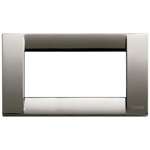 Vimar-Idea-Plakette-Klassische-4-Module-Chrom-Schwarz-16734-31