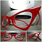 CLASSIC VINTAGE 50s RETRO CAT EYE Style Clear Lens EYE GLASSES Red Fashion Frame